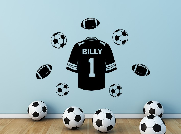 Football Shirt Personalised Wall Decal