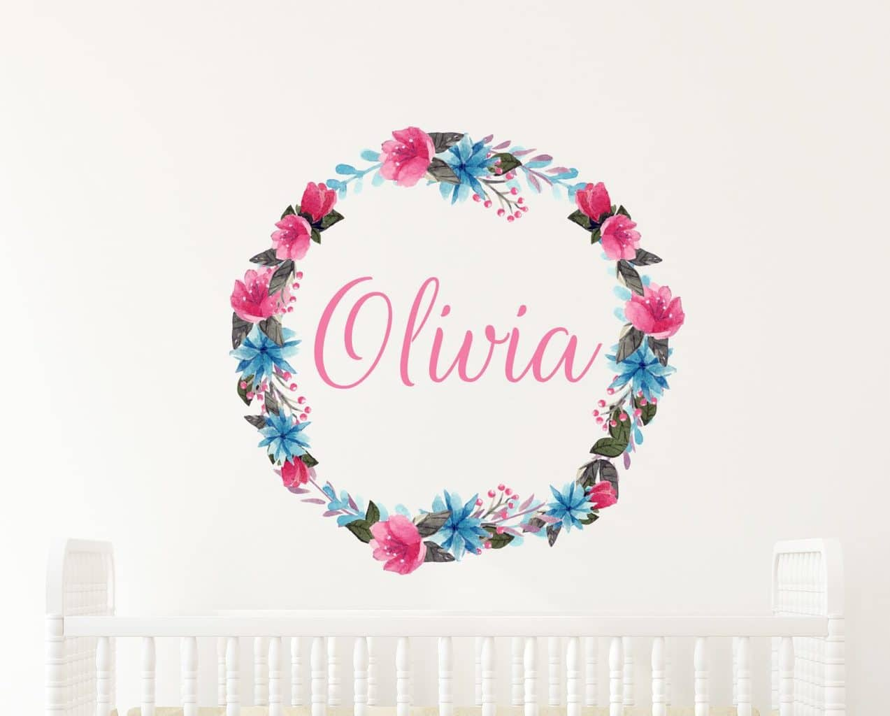 Flower Wreath Name Wall Decal, watercolor Flower Wreath Name Wall Decal