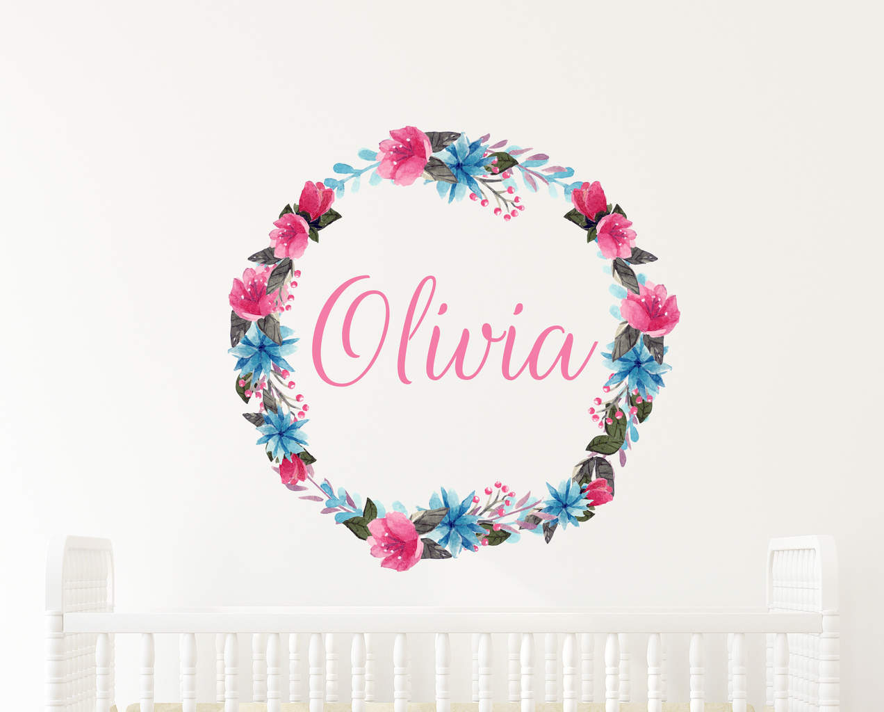 add some color with this wonderful personalised flower wreath name flower wreath name wall decal watercolor flower wreath name wall decal
