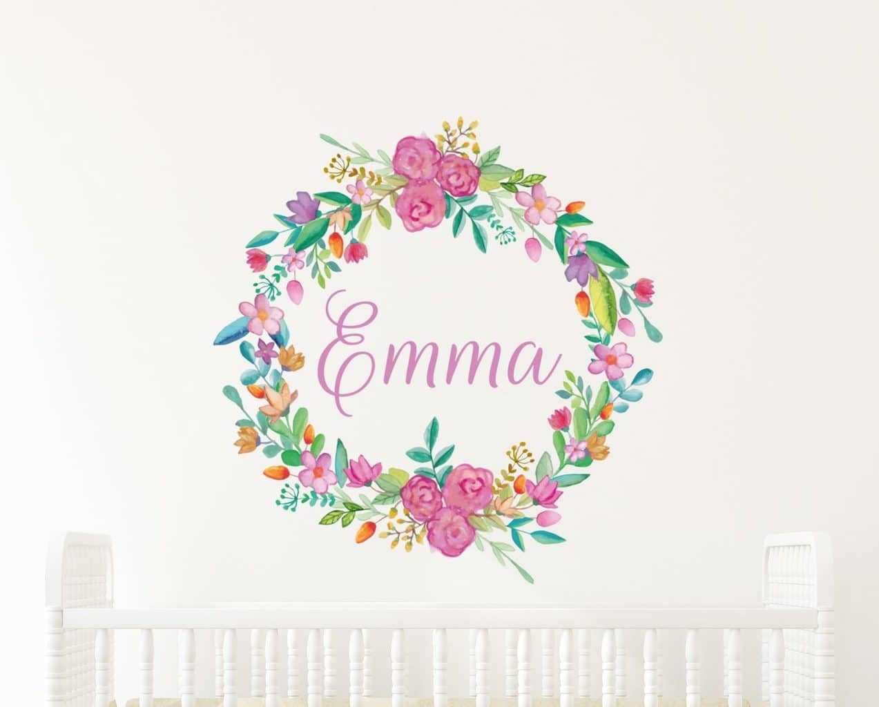 Flower Wreath Name Wall Decal
