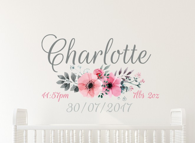 Flower Date of Birth Name Wall Decal