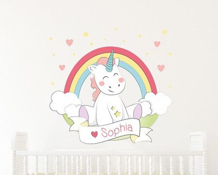 Baby Unicorn Rainbow Name Wall Sticker