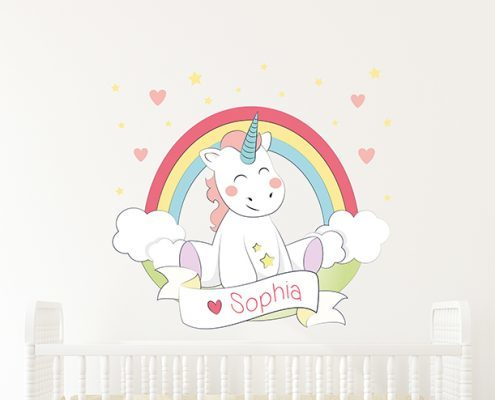Baby Unicorn Rainbow Name Wall Sticker
