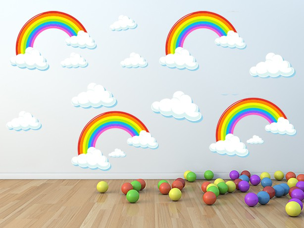 Rainbows and Clouds Wall Decal Sticker