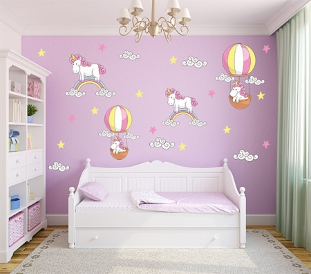 Unicorns, Rainbows, Balloon and Clouds Wall Decal Sticker Set