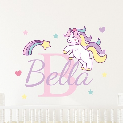 Unicorn Shooting Star Name Wall Sticker
