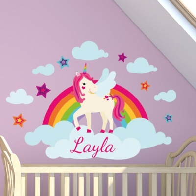 Unicorn Rainbow Name Wall Sticker