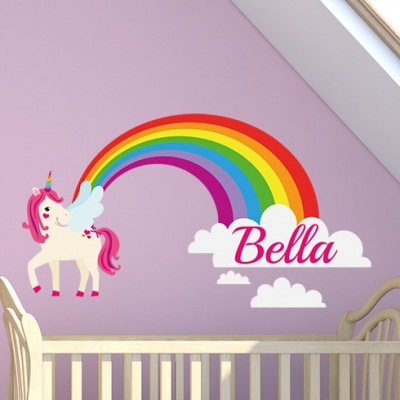 Indulge your children's wonderful and magical imagination with this Rainbow Unicorn Name Wall Sticker.