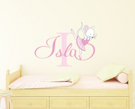 Ballerina Mouse Name Wall Decal