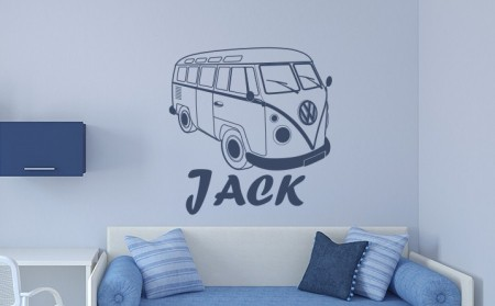 VW Campervan Name Wall Decal