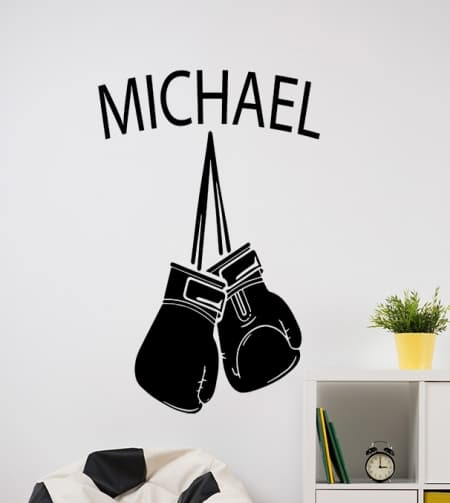 Boxing Gloves Name Wall Decal
