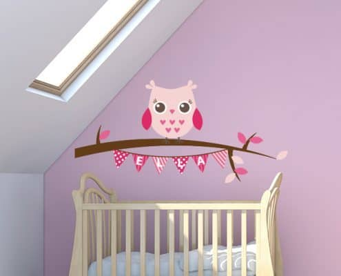Owl Branch Bunting Name Wall Decal