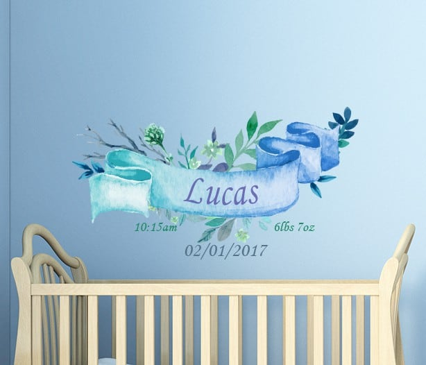 Ribbon Date of Birth Name Wall Decal