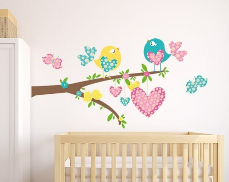Birds and Butterflies Branch Wall Decal