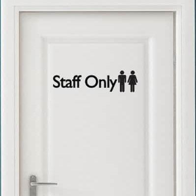 Staff Only Door Sign Decal