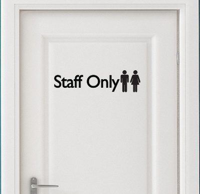 Staff Only Door Sign Decal