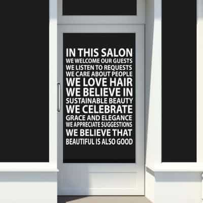 Hairstylists at heart will love these In This Salon Wall Decal