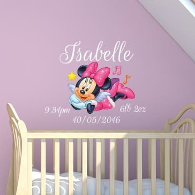 Minnie Mouse Date of Birth Name Wall Decal