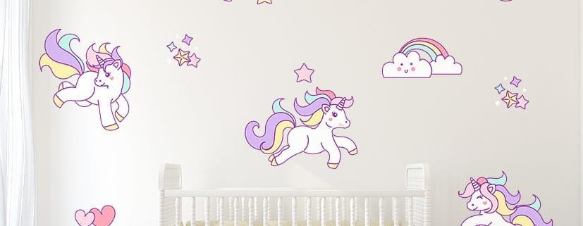 Unicorns, Rainbows, Stars and hearts Wall Decal Sticker Set, Girls Bedroom Wall Decals, Unicorn Wall Decal Stickers