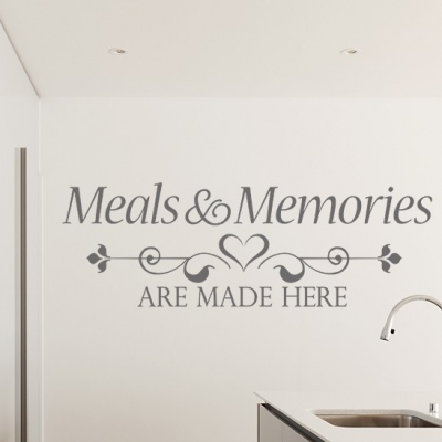 Meals and Memories are Made Here Wall Decal, Wall sticker, Kitchen Wall Decal, home wall quote, Wall Decal, kitchen wall decal, kitchen wall sticker, personalised kitchen wall decal, family name wall decal, custom family name wall decal, kitchen wall quote, kitchen wall words, personalised wall sticker for kitchen