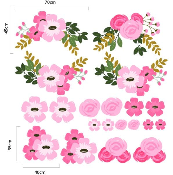 Pretty pink graphic flower wall decal set now available at eydecals pretty pink graphic flower wall decal set mightylinksfo