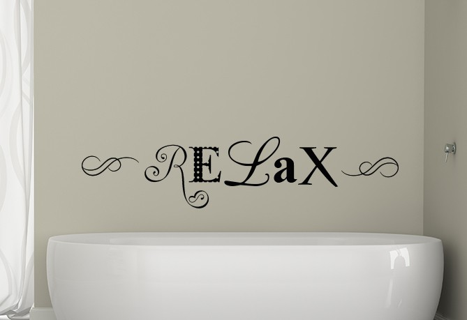 Relax Wall Decal Sticker, bathroom wall decal, salon wall decal, relax wall quote, wall decals Ireland