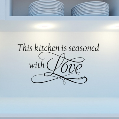 Seasoned with Love Wall Decal, Kitchen wall decal, kitchen wall sticker, kitchen wall quote, Kitchen Wall Decals