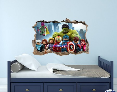 Avengers Lego 3D Smashed Wall Decal