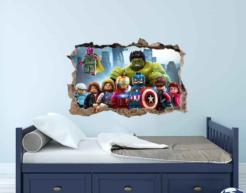 avengers lego 3d smashed wall decal stickereydecals