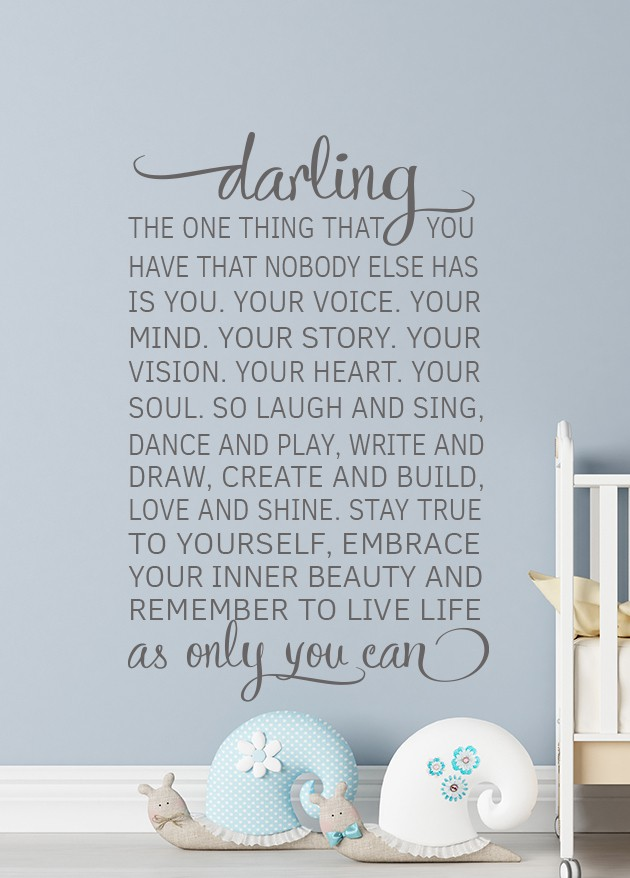 Darling Wall Decal Sticker Inspire your Darling with this beautiful and meaningful childhood quote 'Darling The One Thing That You Have..', Elegant Calligraphy quote Wall Decal, Baby Nursery wall decal, Wall Art Baby Wall Decals, Baby Nursery decal,