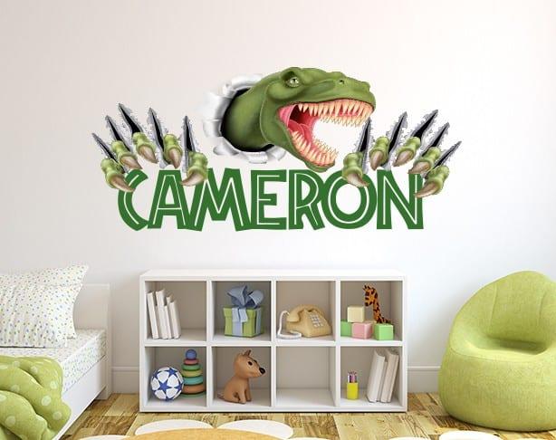 Smashing T-Rex Dinosaur Name Wall Decal