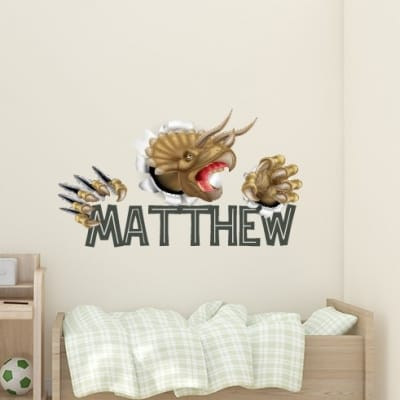 Smashing Triceratops Dinosaur Name Wall Decal