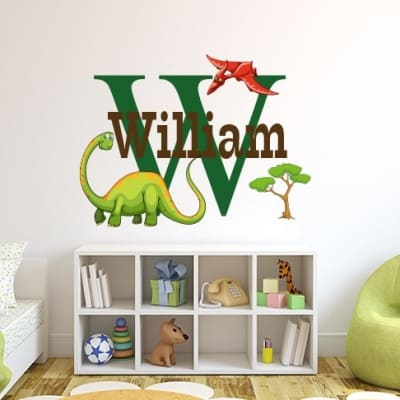 Dinosaurs Initial Name Wall Decal