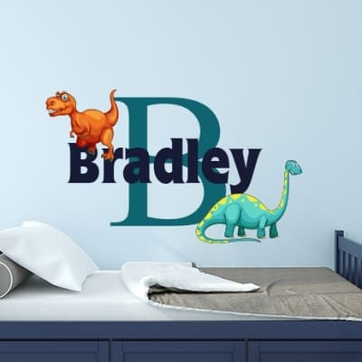 Dinosaur Initial Name Wall Decal