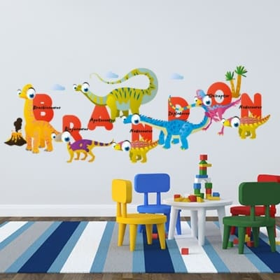 Dinosaur Alphabet Name Wall Decal