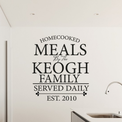 Personalized Family Meals Wall Decal Kitchen Sticker Personalised