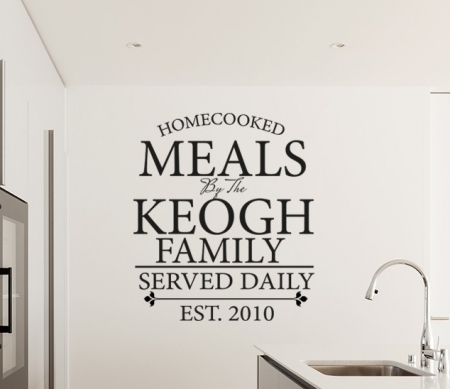 Personalized Family Meals Wall Decal, kitchen wall decal, kitchen wall sticker, personalised kitchen wall decal, family name wall decal, custom family name wall decal, kitchen wall quote, kitchen wall words, personalised wall sticker for kitchen