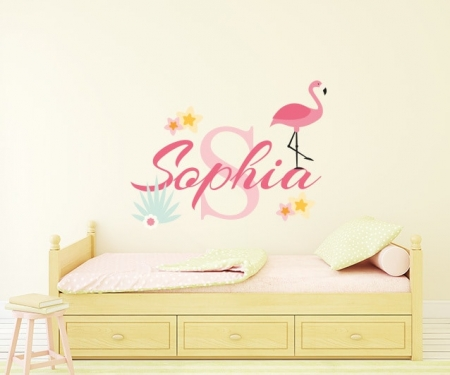 Flamingo Name Wall Decal, Flamingo Wall Decal for Girls room, Flamingo Wall Stickers, Nursery Flamingo, Wall Art Baby Name Wall Decals, Girls Wall Decals