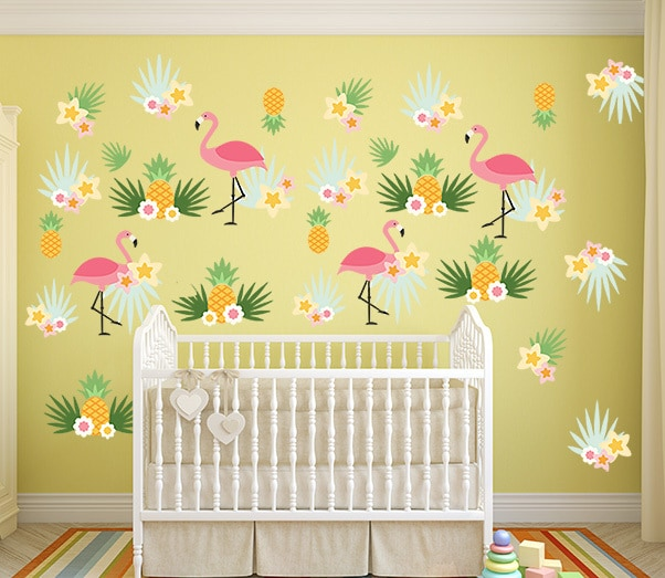 Flamingo Pineapple Wall Decal Set, wall decal, wall sticker,