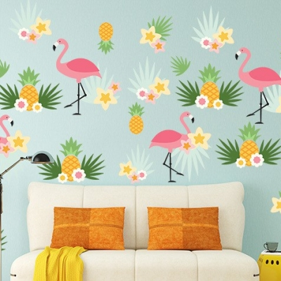 Flamingo Pineapple Wall Decal Set