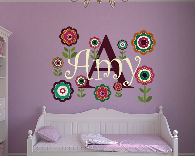 Flowery Name Wall Decal
