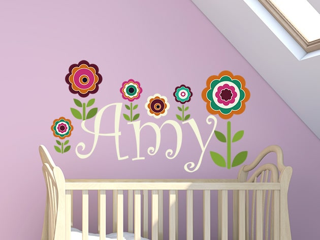 Add some personalised fun with this wonderful Flower Name Wall Decal.