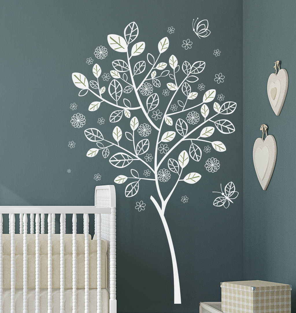 Flower Butterfly Tree Wall Decal