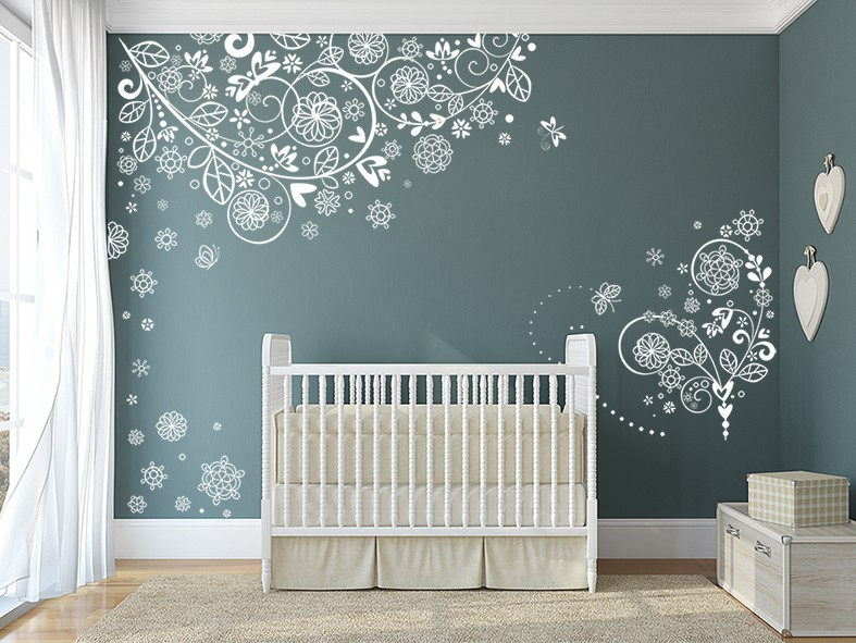 Flower Vine Heart Branches Wall Decal