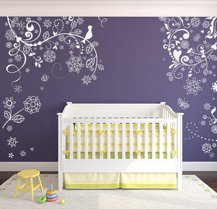 Flower Vine Branches Wall Decal, Decal, , Elegant tree Wall Decal, Baby Nursery wall decal, Wall Art Baby Wall Decals, Baby Nursery decal,