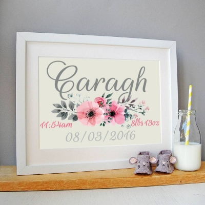 Personalised Watercolour Flower Date of BiPersonalised Watercolour Flower Date of Birth Picture Framerth Picture Frame