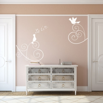 Love Heart Singing Birds Wall Decal