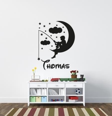 Boy Fishing On Moon Name Wall Decal, personalized wall decal sticker, childrens name wall decal