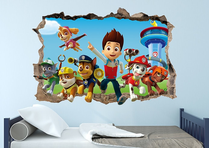 Amazing Paw Patrol 3d Smashed Wall Decal Removable Sticker