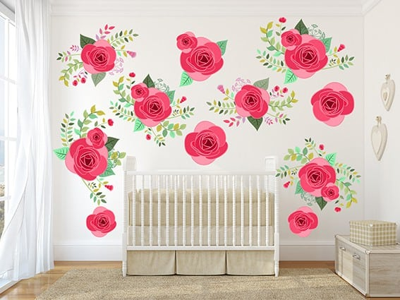 Pretty pink graphic flower wall decal set now available at eydecals pink graphic flower wall decal set pink rose flower wall decal set pretty pink mightylinksfo
